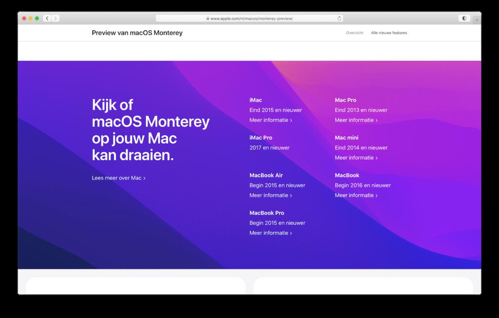 macOS Monterey systeemeisen voor je Mac